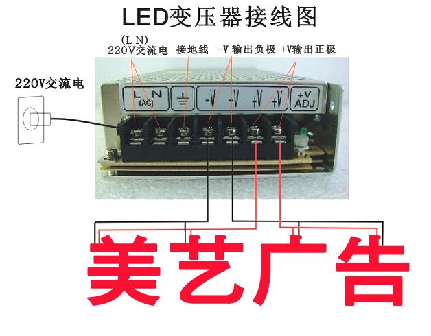 变压器底部会有螺丝接口,需要螺丝批拧开再进行接线。其中LN(AC)是接220V的交流电,两个接口火线和零线顺序可替换,但不能接触。 左边第三个接口是地线接口,可接可不接。-V是输出负极,+V是输出正极。